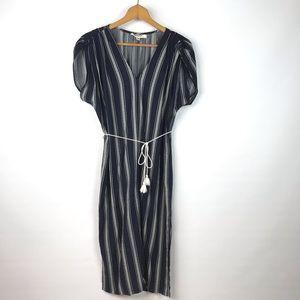Anthro Porridge Clothing Navy Striped Long Dress